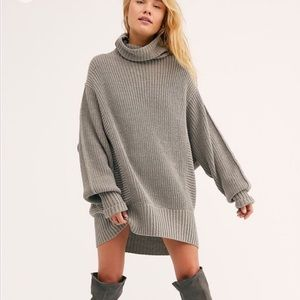 NWT FP Chunky Cocoa Knit Turtleneck Sweater GREY